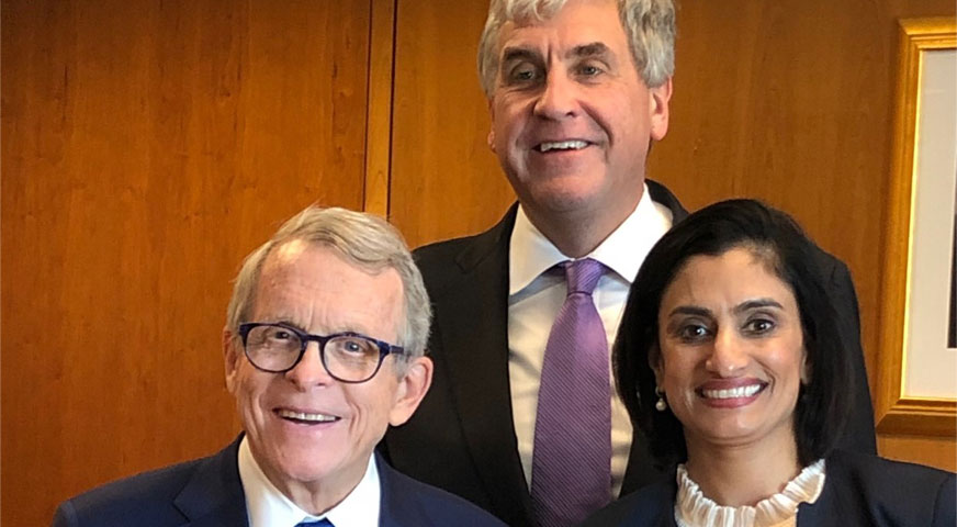 Ohio Governor Mike DeWine, U.S. Department of Health and Human Services Deputy Secretary Eric Hargan, and Centers for Medicare and Medicaid Studies Administrator Seema Verma.